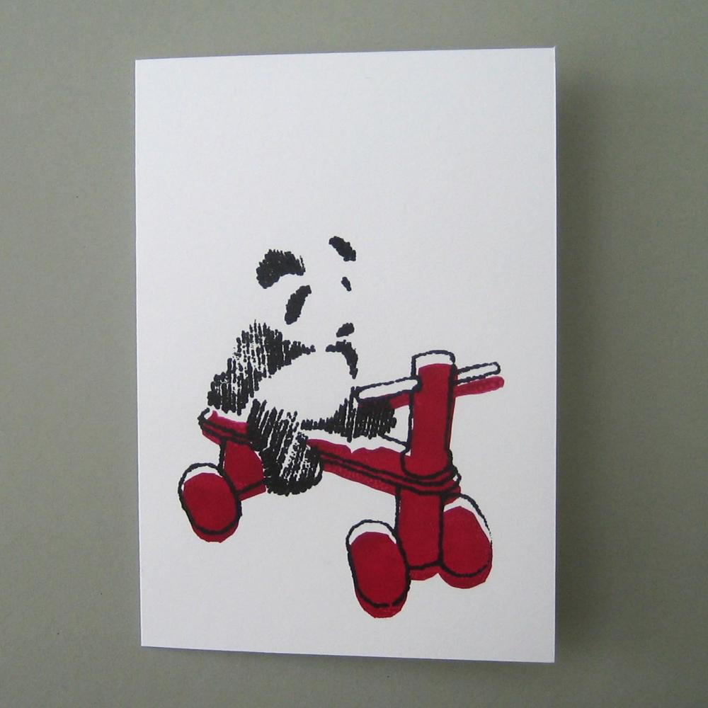 Panda on red tricycle - baby and kiddie card